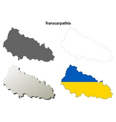 Transcarpathia blank outline map set - Ukrainian vector image