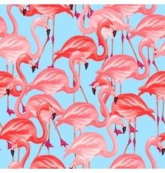 Tropical birds seamless pattern with pink vector