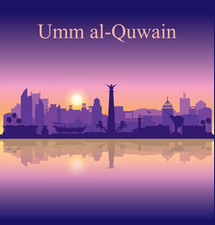 umm al-quwain silhouette on sunset background vector image