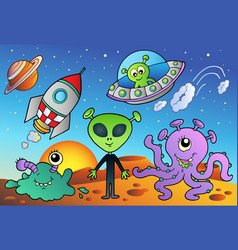 Various alien and space cartoons vector
