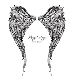 Vetor hand drawn ornate angel wings zentangle vector