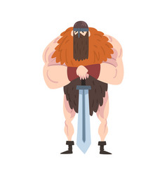 Viking warrior with sword red muscular vector