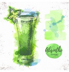 Watercolor cocktail cosmopolitan sketch vector