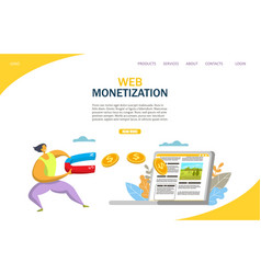 web monetization website landing page vector image