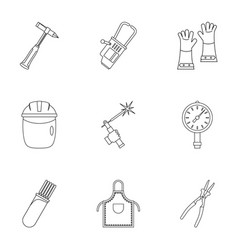 Welder instrument icon set outline style vector
