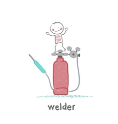 Welder is on the welding machine vector