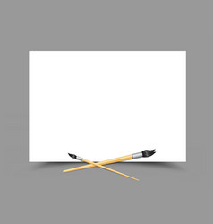 white paper and paint brushes vector image