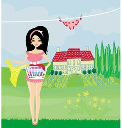 woman hangs clothes to dry vector image