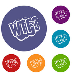 Wtf comic book bubble text icons set vector