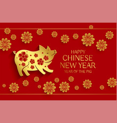 Year of the pig chinese new year background vector