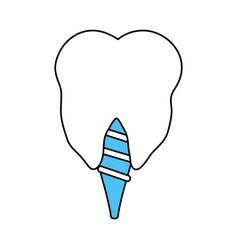 Color silhouette cartoon dental implant icon vector