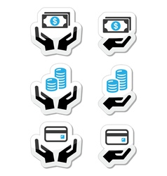 Hands with money coins icons set vector image vector image