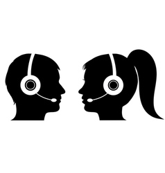 Male and female operator in call center vector image vector image