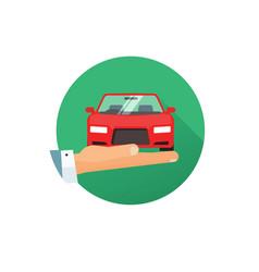 rent a car logo idea flat style hand vector image