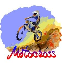 Watercolor motocross vector image vector image