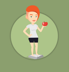 woman standing on scale and holding apple in hand vector image