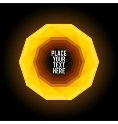 Yellow decagon shape on dark background vector