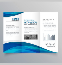 Blue wave trifold business brochure design vector