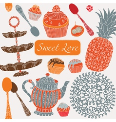 Card with tea fruits and sweets vector image vector image