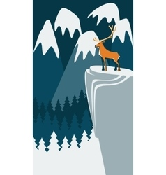 Deer on the mountain vector image