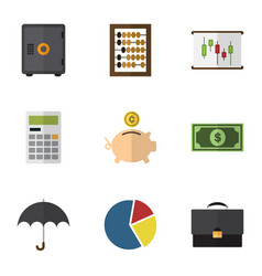 flat icon gain set of graph diagram parasol and vector image