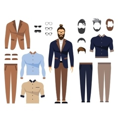 Man in office clothes stylish uniform design Set vector image