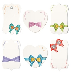 Set of cards with colorful gift bows and ribbons vector image