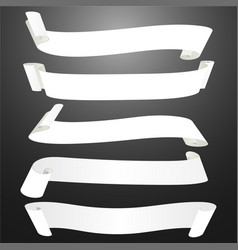 set of horizontal blank white curved paper ribbon vector image