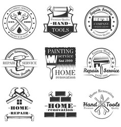 set of vintage home repair labels badges vector image