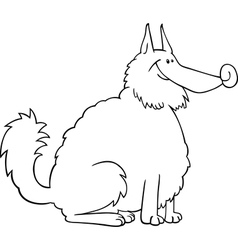 spitz dog cartoon for coloring book vector image vector image