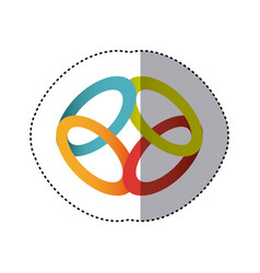 Sticker shading colorful rings in circular shape vector