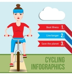 Bicycle infographics concept with front view of vector image vector image