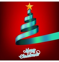 Christmas tree from blue ribbon and star EPS 10 vector image vector image