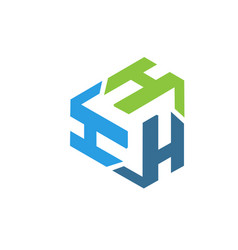 letter h logo triangle vector image vector image