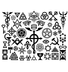 medieval occult signs and magic stamps origin vector image vector image