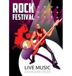Rock festival cartoon poster vector