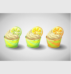 Set of capkakes hand draw citrus cupcake vector