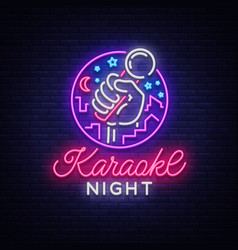 karaoke night neon sign luminous logo vector image