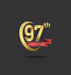 97 years anniversary logo style with swoosh ring vector
