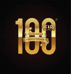 anniversary retro vintage badge 100 vector image