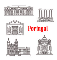 Architecture portugal landmark buildings vector