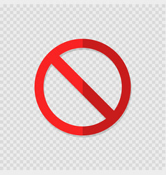 Ban sign on transparent background with shadow vector