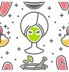 Beauty and spa seamless pattern facial green mask vector