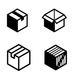 Black boxs pictogram icons set vector