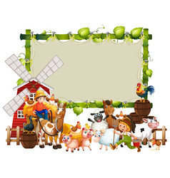 Blank green wood frame template with animal farm vector