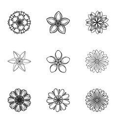 bloom flower icon set simple style vector image