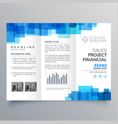 Blue square shape trifold business brochure vector