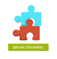 Brain training alzheimer disease prevention jigsaw vector