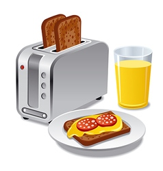 Breakfast with toasts vector