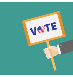 businessman hand holding plate vote text vector image